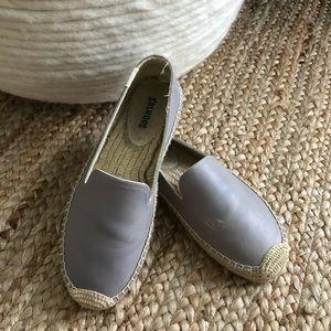 Gray Soludos Leather Platform Espadrilles
